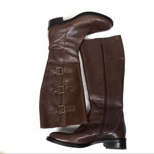 Ecco brown leather tall boots 39